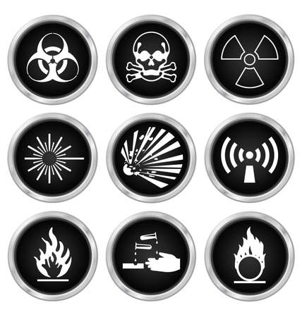 corrosive poison: Black hazard related icon set isolated on white background Illustration