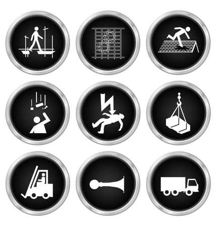 Czarno-białe produkcji roboty inżynieryjne zdrowia i bezpieczeństwa związane z zestaw ikon samodzielnie na białym tle