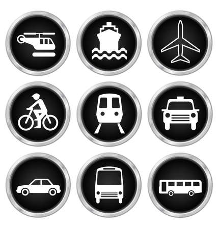 plain button: Black transport related icon set isolated on white background Illustration