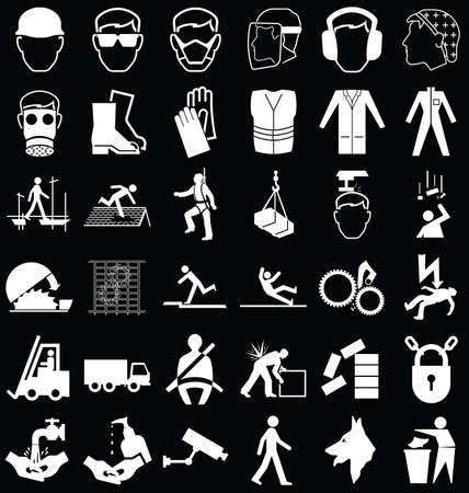 safety harness: Black and white construction manufacturing and engineering health and safety related graphics set isolated on black background