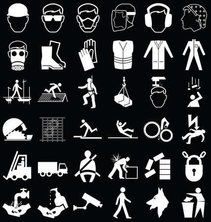 aseo personal: Fabricación de la construcción y la salud de ingeniería y gráficos relacionados con la seguridad conjunto blanco y negro aislado en el fondo negro Vectores