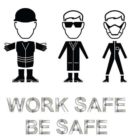 ppe: Monochrome construction manufacturing and engineering health and safety related message isolated on white background