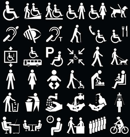 handicapped person: Black and white disability and people related graphics collection isolated on black background