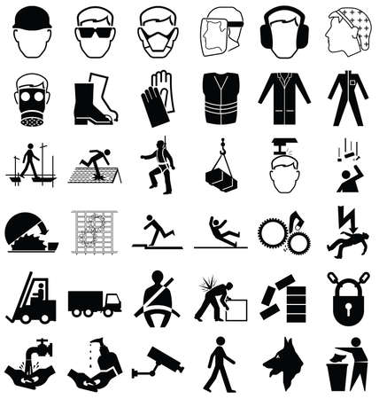 Black and white construction manufacturing and engineering health and safety related graphics set isolated on white background  イラスト・ベクター素材