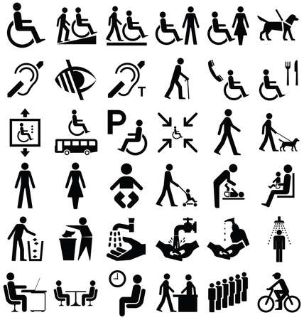 impairment: Black and white disability and people related graphics collection isolated on white background