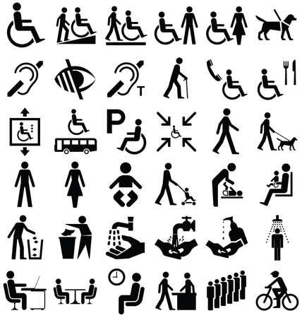 Colección de gráficos en blanco y negro la discapacidad y las personas relacionadas con aisladas sobre fondo blanco