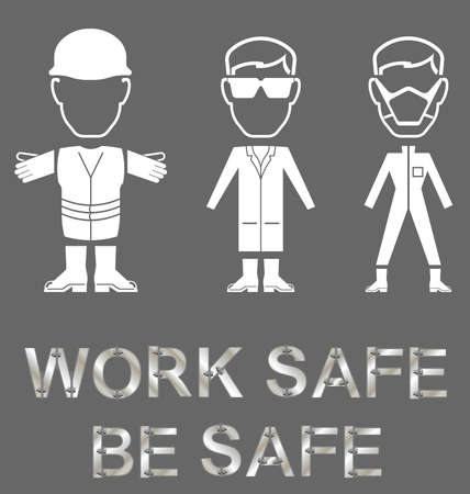 safety goggles: Monochrome construction manufacturing and engineering health and safety related message isolated on grey background Illustration