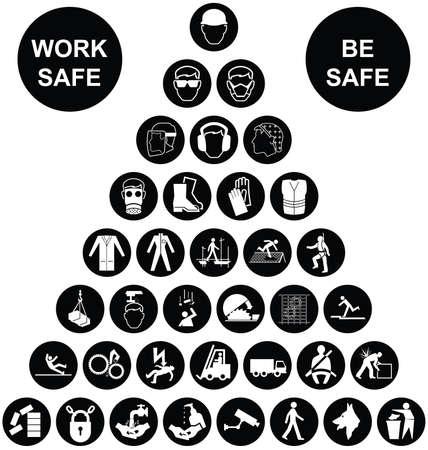 aseo personal: Fabricación de construcción blanco y negro y la salud de ingeniería y de seguridad pirámide colección de iconos aislados en fondo blanco con el mensaje de seguridad de trabajo Vectores