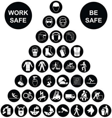 Black and white construction manufacturing and engineering health and safety related pyramid icon collection isolated on white background with work safe message