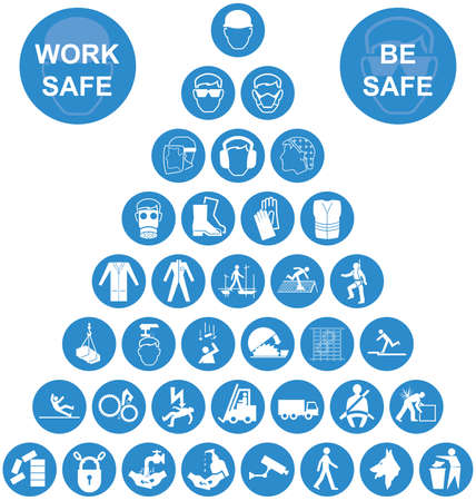 Blue and white construction manufacturing and engineering health and safety related pyramid icon collection isolated on white background with work safe message Çizim