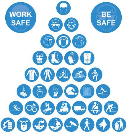 santé: La fabrication de construction bleu et blanc et de la santé de l'ingénierie et de la sécurité liée pyramide icône collection isolé sur fond blanc avec un message travail sécuritaire