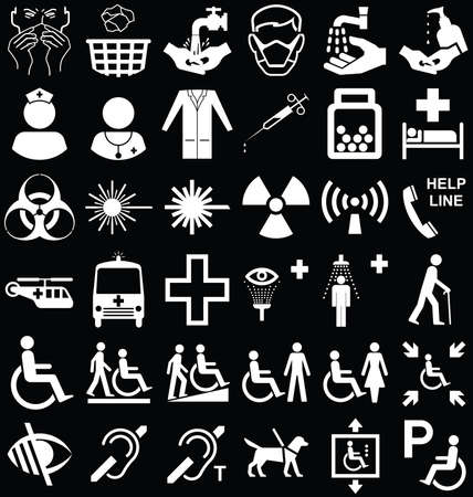 mobility nursing: Black and white silhouette medical and healthcare related graphics collection isolated on black background