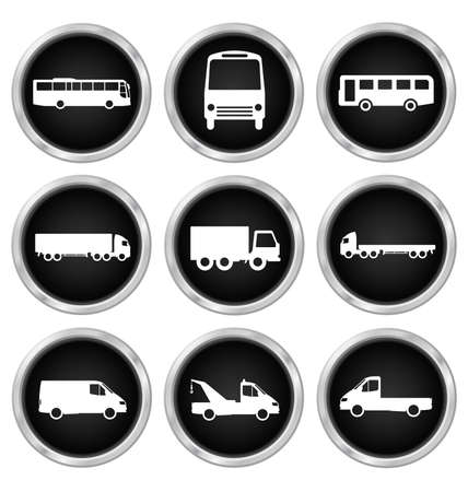 motor coach: Monochrome transport related icon set isolated on white background Illustration