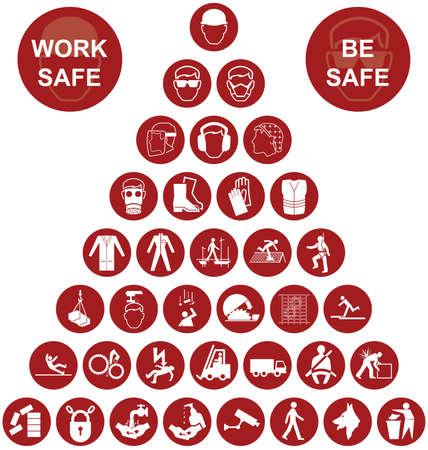 Fabricación de construcción roja y la salud de ingeniería y de seguridad pirámide colección de iconos aislados en fondo blanco con el mensaje de seguridad de trabajo