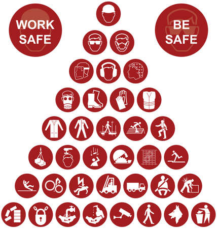 work safe: Red construction manufacturing and engineering health and safety related pyramid icon collection isolated on white background with work safe message