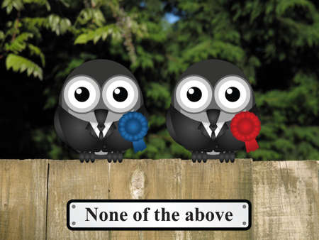 senate: Comical bird politicians with none of the above sign perched on a timber garden fence against a foliage background
