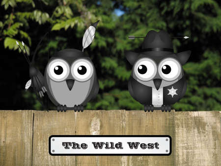roost: Comical United States Wild West Native American and sheriff birds perched on a timber garden fence against a foliage background Stock Photo