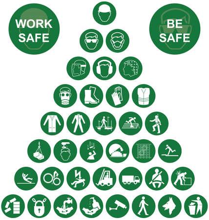caja fuerte: Fabricaci�n de la construcci�n verde y la salud de ingenier�a y de seguridad pir�mide colecci�n de iconos aislados en fondo blanco con el mensaje de seguridad de trabajo