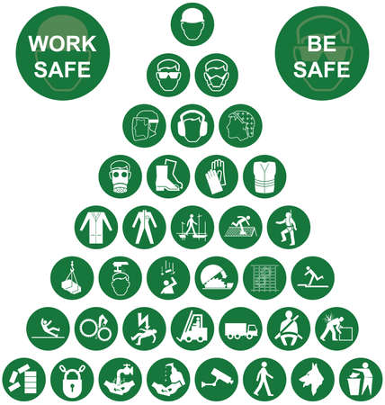 Green construction manufacturing and engineering health and safety related pyramid icon collection isolated on white background with work safe message