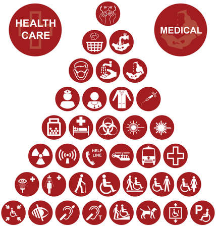 mobility nursing: Red Medical and health care related pyramid icon collection isolated on white background