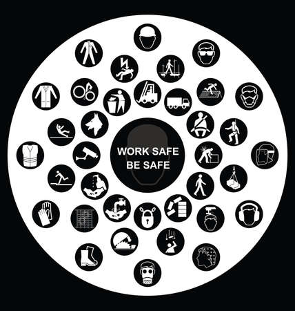 Black and white construction manufacturing and engineering health and safety related circular icon collection isolated on white background with work safe message Vector