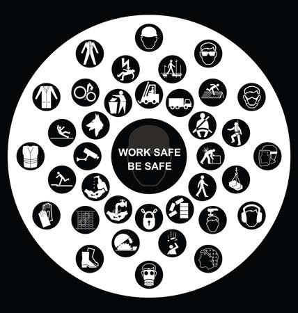 Fabricación de construcción blanco y negro y la salud de ingeniería y de seguridad circular colección de iconos aislados en fondo blanco con el mensaje de seguridad de trabajo