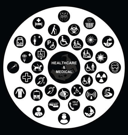 impaired: Black and white Medical and health care related circular icon collection