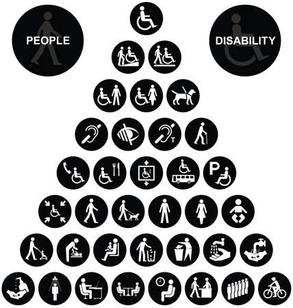 people with disabilities: Black and white disability and people related pyramid graphics collection isolated on white background