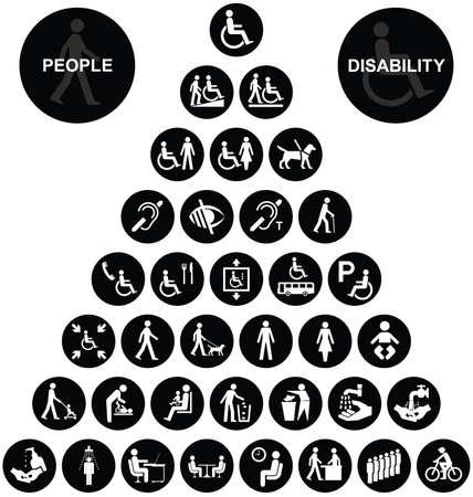 personas discapacitadas: Colección de gráficos piramidales discapacidad y las personas relacionadas en blanco y negro aislado en el fondo blanco