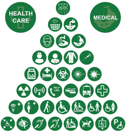 mobility nursing: Green Medical and health care related pyramid icon collection isolated on white background Illustration