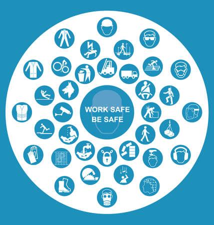 작업 안전 메시지와 함께 블루 건설, 제조 및 엔지니어링 보건 및 안전과 관련된 원형 아이콘 모음
