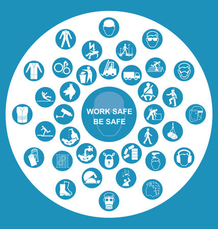 safety at work: Blue construction manufacturing and engineering health and safety related circular icon collection with work safe message