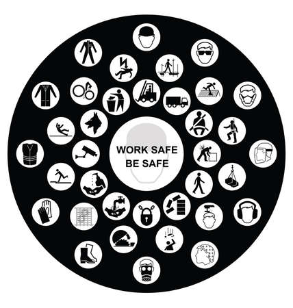 work safe: Black and white construction manufacturing and engineering health and safety related circular icon collection isolated on black background with work safe message Illustration