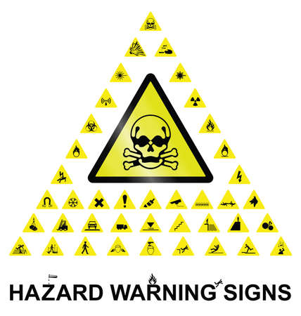 Make your own hazard warning sign with main central sign and forty related hazard warning graphics isolated on white background