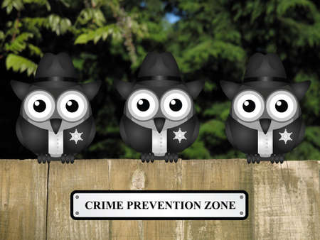bobby: Comical British bird policemen with crime prevention zone sign perched on a timber garden fence against a foliage background