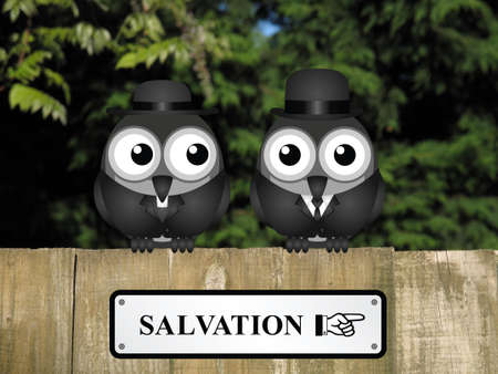 clergy: Comical bird vicar and businessman with road to salvation sign perched on a timber garden fence against a foliage background