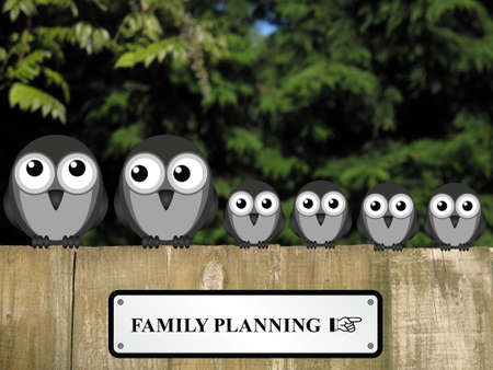 family planning: Comical family planning sign with large family of birds perched on a timber garden fence against a foliage background Stock Photo