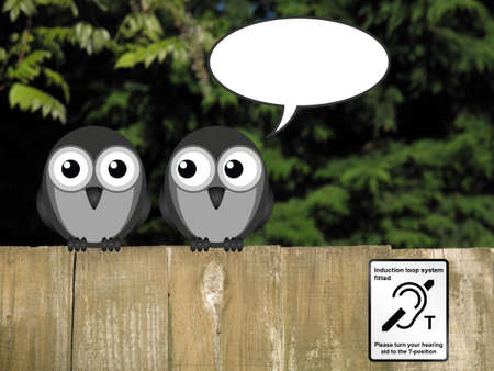 Induction Loop System sign with copy space speech bubble and birds perched on a timber garden fence against a foliage background