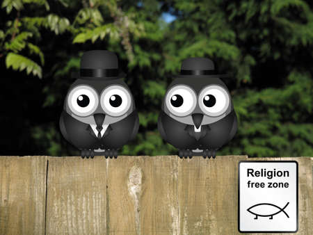 evolutionary: Comical bird vicar and businessman with evolution religion free zone sign perched on a timber garden fence against a foliage background Stock Photo