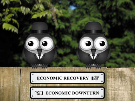 upturn: Comical economic recovery and economic downturn signs with businessmen birds perched on a timber garden fence against a foliage background