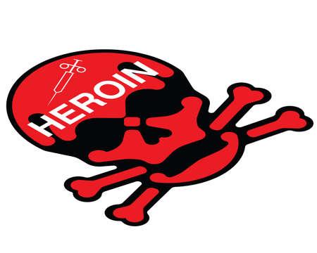 maltrato: Advertencia concepto contra el uso indebido de heroína aislado en fondo blanco Vectores