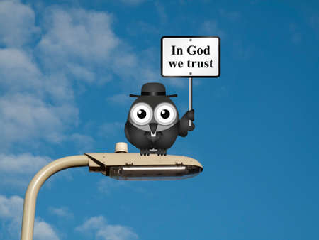 clergy: Comical bird vicar with In God We Trust sign sat on a lamp post against a blue sky background