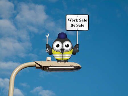 safety at work: Comical construction worker with health and safety work safe be safe sign sat on a lamp post against a blue sky background