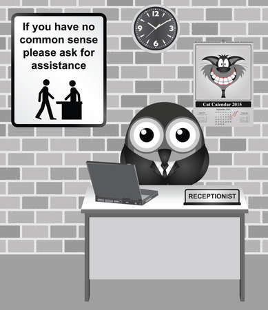 unintelligent: Comical bird Receptionist with common sense information sign