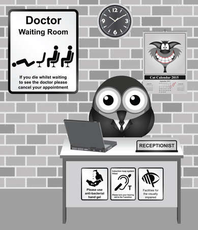 nhs: Comical bird Doctor waiting room with cancel your appointment if you die information sign