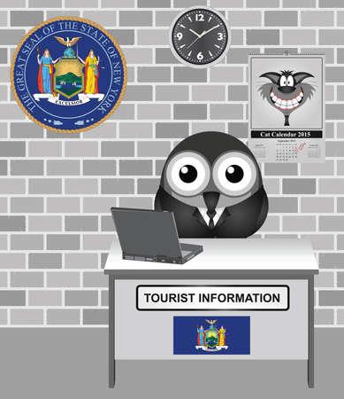 guia turistica: Gu�a tur�stica de aves c�mico con la ciudad de Nueva York muestra de la informaci�n tur�stica