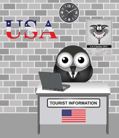 tourists: Comical bird tourist guide with America tourism information sign
