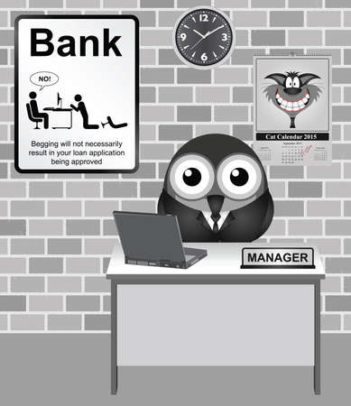 bank manager: Comical bird Bank Manager with no begging for loans sign