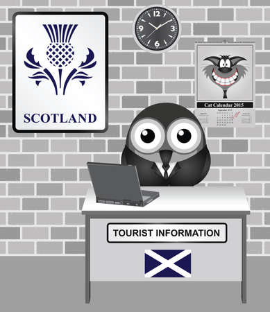 scotish: Comical bird tourist guide with Scotland tourism information sign