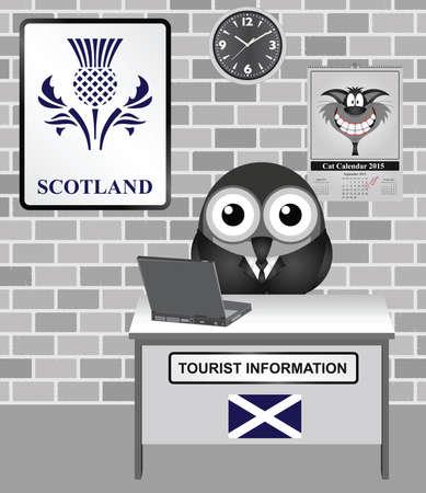Comical bird tourist guide with Scotland tourism information sign